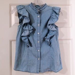 primark denim ruffle top
